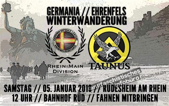 """Flyer zur gemeinsamen Winterwanderung der """"Identitären"""" und der German Defence League"""
