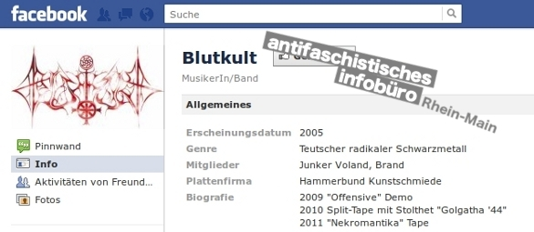 Blutkult, Screenshot Facebook